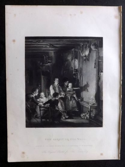 After David Wilkie 1846 Folio Antique Print. Rabbit of the Wall